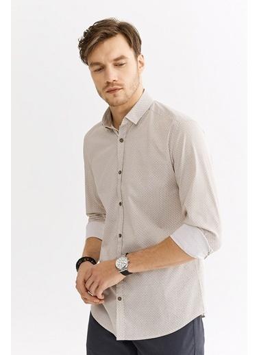 Avva Erkek  Baskılı Alttan Britli Gömlek A01S2233 Bej
